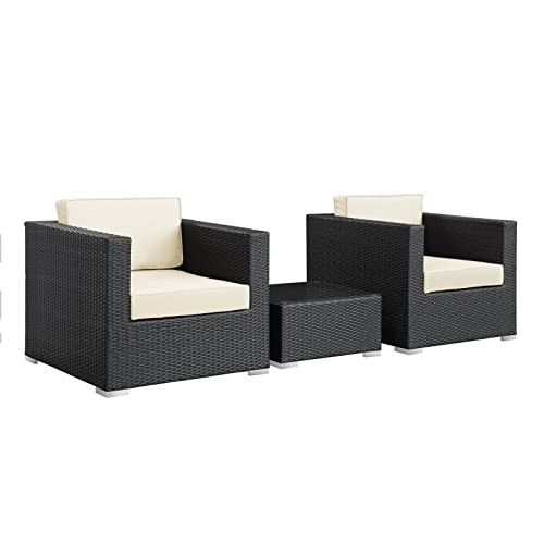 Modway Burrow 3-Piece Espresso Patio Sectional Set with White Cushions - Modway Outdoor Furniture: Amazon.com