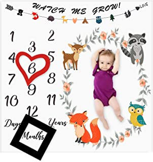 Baby Monthly Milestone Blanket Woodland Animals Personalized Photography Props Backdrop Blankets for Infant Newborn Swaddling Boy Girl