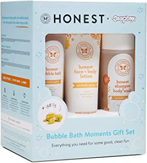 The Honest Company – Honest Bubble Bath Moments Gift Set | Face and Body Lotion | Baby Shampoo and Body Wash | Taylor the Turtle Bath Sponge | Baby Shower Gifts | Sweet Orange Vanilla