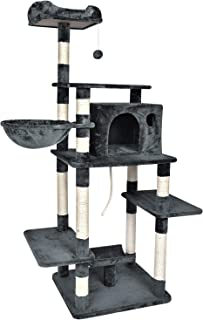 BAIJIAWEI 67-Inch Cat Tree Condo Tower with Scratching Post, Basket Lounger - Multi Level Climbing Tree for Kitten