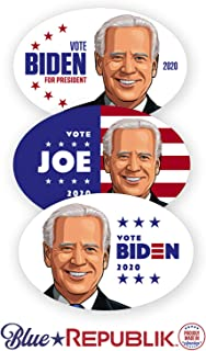 BlueRepublik Biden 2020 Bumper Sticker. 3 Pack- 4 x 6 Ovals. Joe Biden Car Stickers for The 2020 Election. Professionally Printed in USA with Weather Resistant UV Inks.