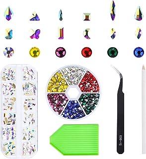 Nibiru Nail Rhinestones Set Flatback Crystal AB Nail Gems with Mix 12 Styles Shapes Nail Jewel and Multi-Color Rhinestones...