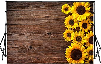 Sensfun 8x6ft Brown Wood Photo Backdrop Country Sunflowers on Rustic Wood Plank Photography Background for Wedding Sweet 16 Birthday Christmas Party Decor Photobooth Banner Photo Studio Props(WP085)