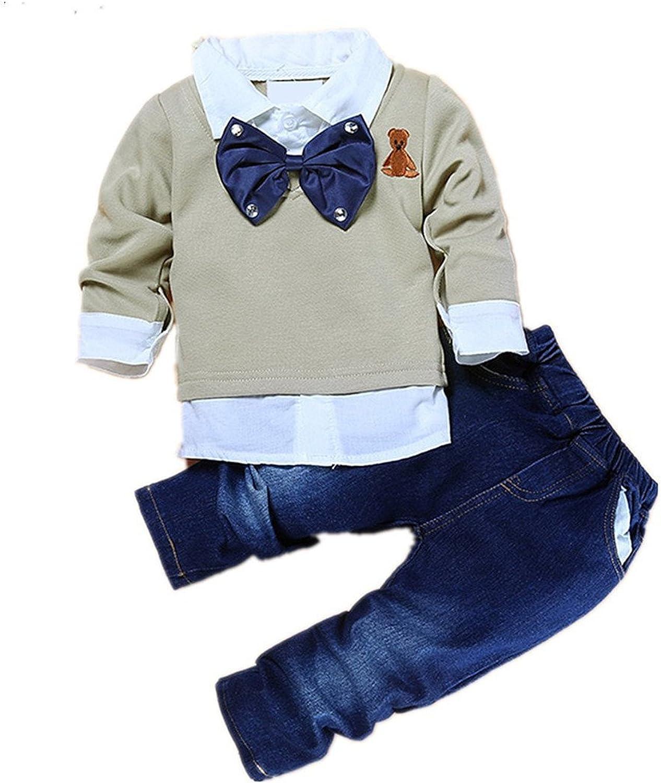 TAOJIAN Toddler Baby Boys 2pcs Gentleman Bow Tie Shirt +Denim Pants Clothes Outfits