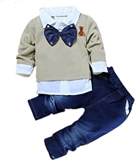 TAOJIAN Toddler Baby Boys 2pcs Gentleman Bow Tie Shirt +Denim Pants Clothes Outfits