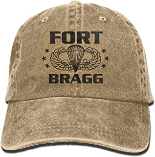 Village hope 82nd Airborne Sweater Fort Bragg North Carolina NC Adult Cotton Washed Denim Visor Hat Adjustable Natural