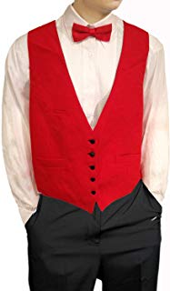 Mens Red Vest Reversible to Black Vest, Five Buttons