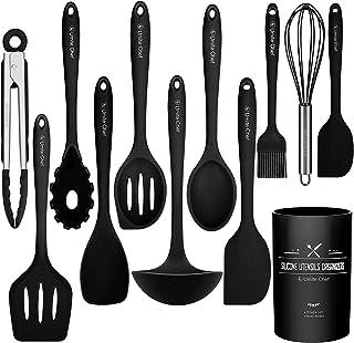 12 PCS Silicone Kitchen Cooking Utensil Set, Heat Resistan BPA-Free Kitchen Utensils, Umite Chef Nonstick Cookware with Sp...
