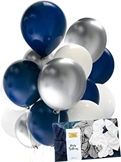 Navy Balloon Chrome Silver Midnight Blue White Mix Latex 30pcs Thick 12 inch, Birthday Party Decoration, Photobooth, Backdrop, Balloon Arch, Funeral - by Tokyo Saturday (Black Navy Chrome,)