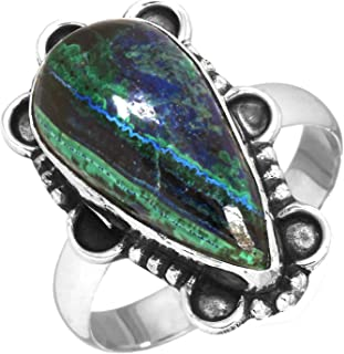 YoTreasure Azurite Malachite Solid 925 Sterling Silver Ring