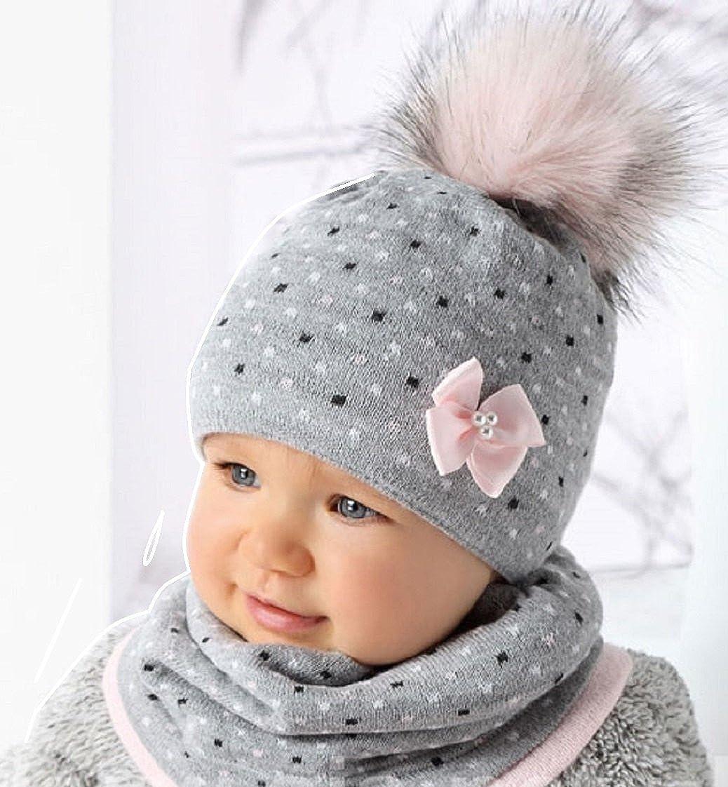 For you Baby Winter M/ütze Set M/ädchen 44//46 Grau//Rosa