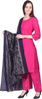 A-TEX INDIA Women's Rayon Golden print Straight Pink Kurti With Palazzo And Dupatta Set