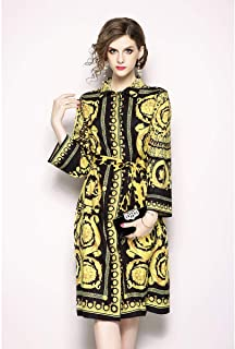 Y&D knee length shirt neck print pattern full sleeve straight dress for women yellow color
