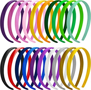 SWSTINLING 20 Pcs Plastic Satin DIY Headbands for Girls and Women,1.5cm Wide Craft Headbands Simple Fashion for Home, Outd...