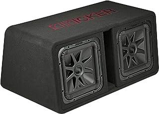 KICKER 45DL7R122 Dual 12 Inch Solo Baric L7R 2 Ohm 1200W RMS Dual Voice Coil Car Audio Angled Profile Subwoofer Enclosure, Black