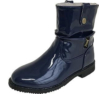 [アマート] ジュニア ルーズ クシュクシュ ハーフ ブーツ 長靴 雨靴 防水 通学 親子 ファミリー ガールズ ボーイズ 4色 AMT-3202 (22.0 cm, ネイビー)