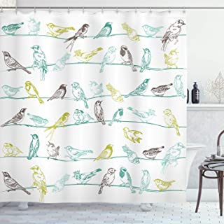 Ambesonne Birds Shower Curtain, Various Type of Birds Sitting and Chirping on Wires Musical Creatures Print, Cloth Fabric Bathroom Decor Set with Hooks, 70