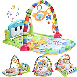 Baby Piano Play Gym Mat, Kick and Play Baby Activity Gym with Music and Lights, Baby Play Mats for Infants and Toddlers Ag...