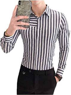 neveraway Mens Casual Business Western Shirt Striped Button Blouse Tops