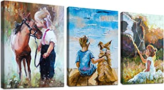 Wall Art for Nursery Boys and Girls with Pets Oil Painting Wall Decor Canvas Wooden Framed. 3 Pieces Set, Each Panel Size ...