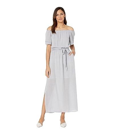 1.STATE Off Shoulder Pinstripe Tie Waist Maxi Dress (Midnight Sky) Women