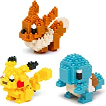 Nanoblocks - 3 Sets - Pikachu, Squirtle and Eevee - Adjustable Pokemon Characters (Japan Import)