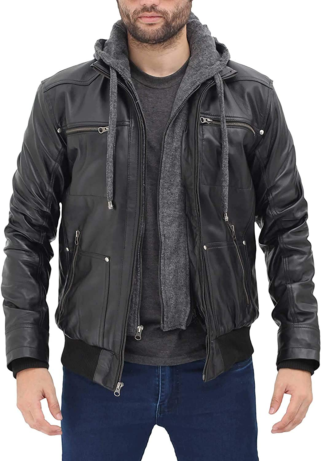 Hooded Leather Jackets for Men - Removeable Mens Black Bomber Hoodie Jacket