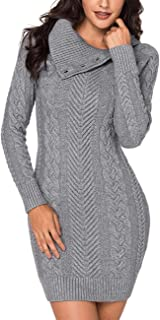 luvamia Women Casual Cable Knit Pullover Sweater Button Turtleneck Sweater Dress