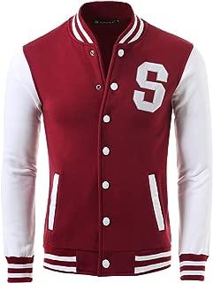uxcell Men's Button Front Baseball School Lettermans Varsity Bomber Jacket