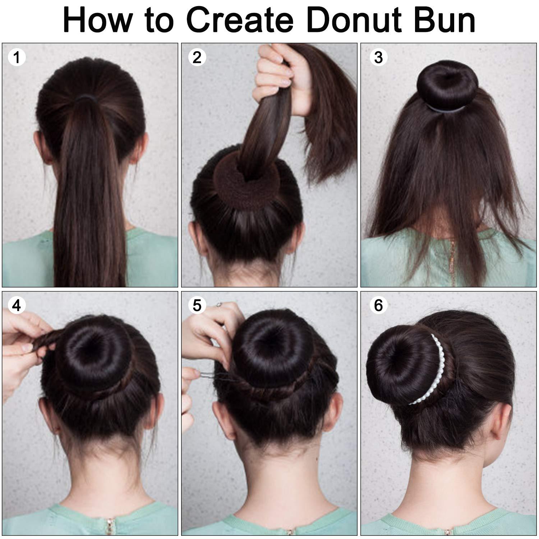 CareforYou Hair Bun Maker, Brown Magic Bun Maker, Doughnut Bun Shaper,  Ballet Hair Bun Styling Tool with 9 Hair Bands and 9 Bag of Bobby Pins