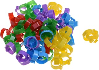 BCP 100pcs 5 Color Poultry Leg Bands Bird Chicks Ducks Chicken Clip-on Rings Size 11 (13/16inch)