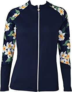 Private Island Hawaii Women UV Wetsuits Long Raglan Sleeve Rash Guard Top Zipper Jacket Pocket Workout Outdoor/Yoga/JRSRGT
