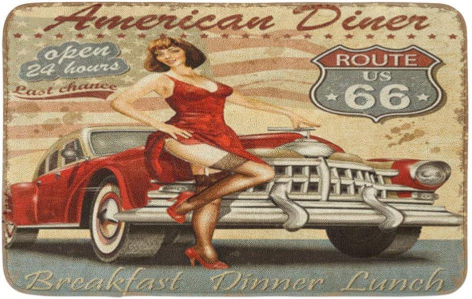 Retro Diner Route 66 Vintage 1950S Coche 1960S 1970S Alfombra de ducha antideslizante absorbente de terciopelo suave lavable a máquina 40 x 60 cm