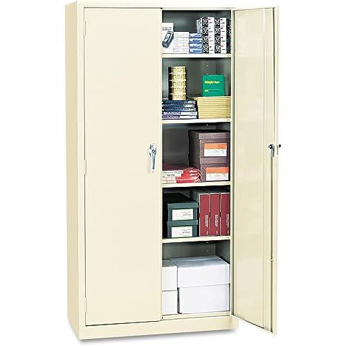 Amazon Com Alera Alecm7218py Assembled 72 High Storage Cabinet W Adjustable Shelves 36w X 18d Putty Furniture Decor