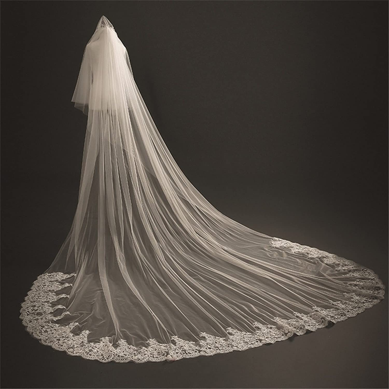 3M 2T Ivory Bridal Veils Lace Edge Cathedral Length Free Comb Meter Long Wedding Accessories with Front Veil
