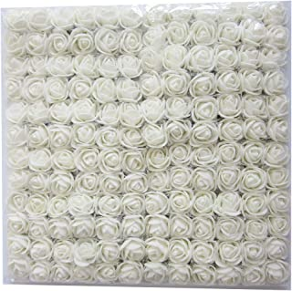 Artfen Mini Fake Rose Flower Heads 144pcs Mini Artificial Roses DIY Wedding Flowers Accessories Make Bridal Hair Clips Headbands Dress (Bottom add Gauze) White