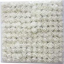 Artfen Mini Fake Rose Flower Heads 144pcs Mini Artificial Roses DIY Wedding Flowers Accessories Make Bridal Hair Clips Headbands Dress (Bottom add Gauze) White