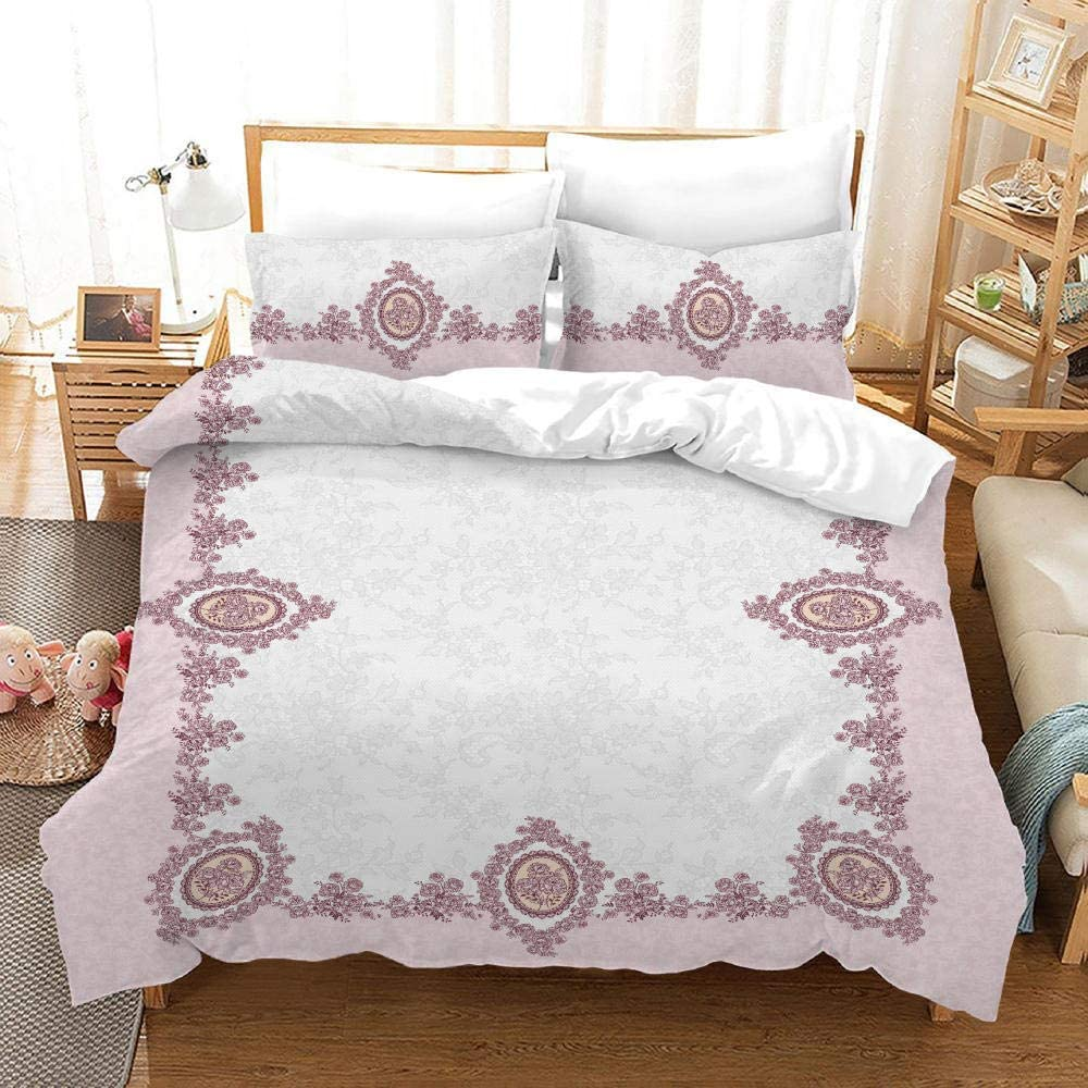 Duvet Covers Queen Size White Pattern Large discharge sale Oakland Mall Powder 1 Print Cov