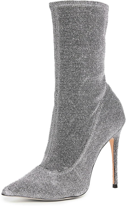 Themost Womens Glitter Stiletto Heel Sock Boots Pull on Mid Calf Booties Size 4-15US