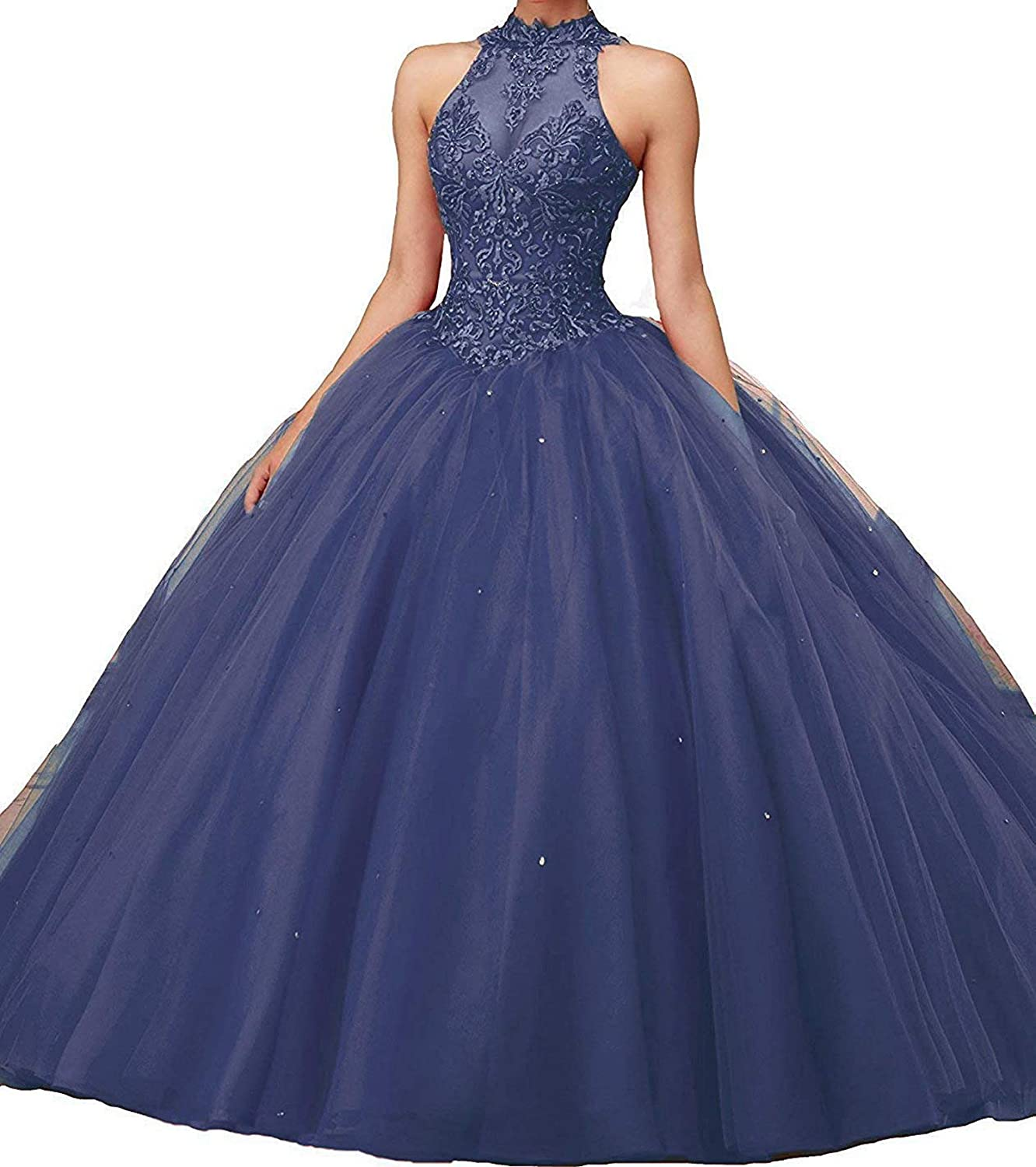 Falydal Women's Halter Applique Beaded Ball Gown Quinceanera Prom Dress