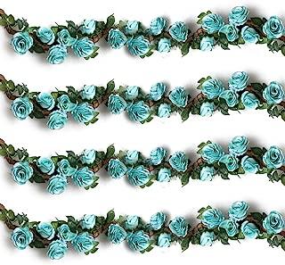 YILIYAJIA 4PCS(28.8 FT) Artificial Rose Vines Fake Silk Flowers Rose Garlands Hanging Rose Ivy Plants for Wedding Home Office Arch Arrangement Decoration (Blue)