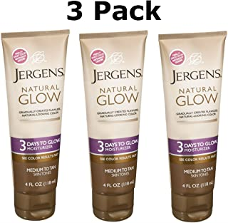 Jergens Natural Glow 3 Days to Glow Moisturizer, Medium to Tan 4 oz (Pack of 3)