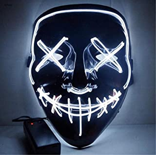 Moonideal Halloween Light Up Mask EL Wire Scary Mask for Halloween Festival Party Sound Induction Twinkling with Music Speed (White)