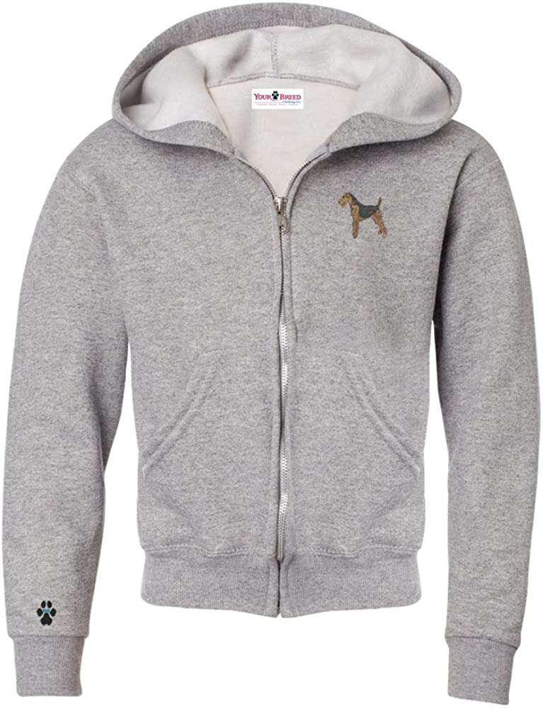 YourBreed Clothing Company Airedale Terrier Youth Full Zip Hooded Sweatshirt