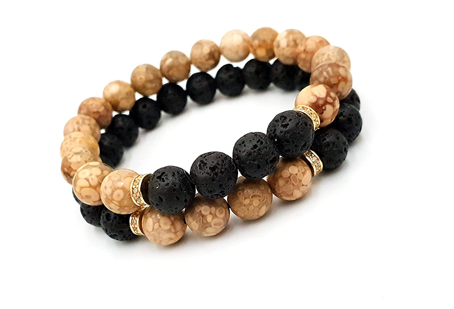 14k yellow Gold Bracelet and Ranking TOP17 Onyx Bracelets Gol beads Pure New mail order SET 2