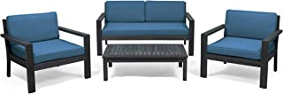 Great Deal Furniture Joanne Outdoor 4 Seater Acacia Wood Chat Set with Cushions, Wire Brushed Dark Gray and Dark Teal