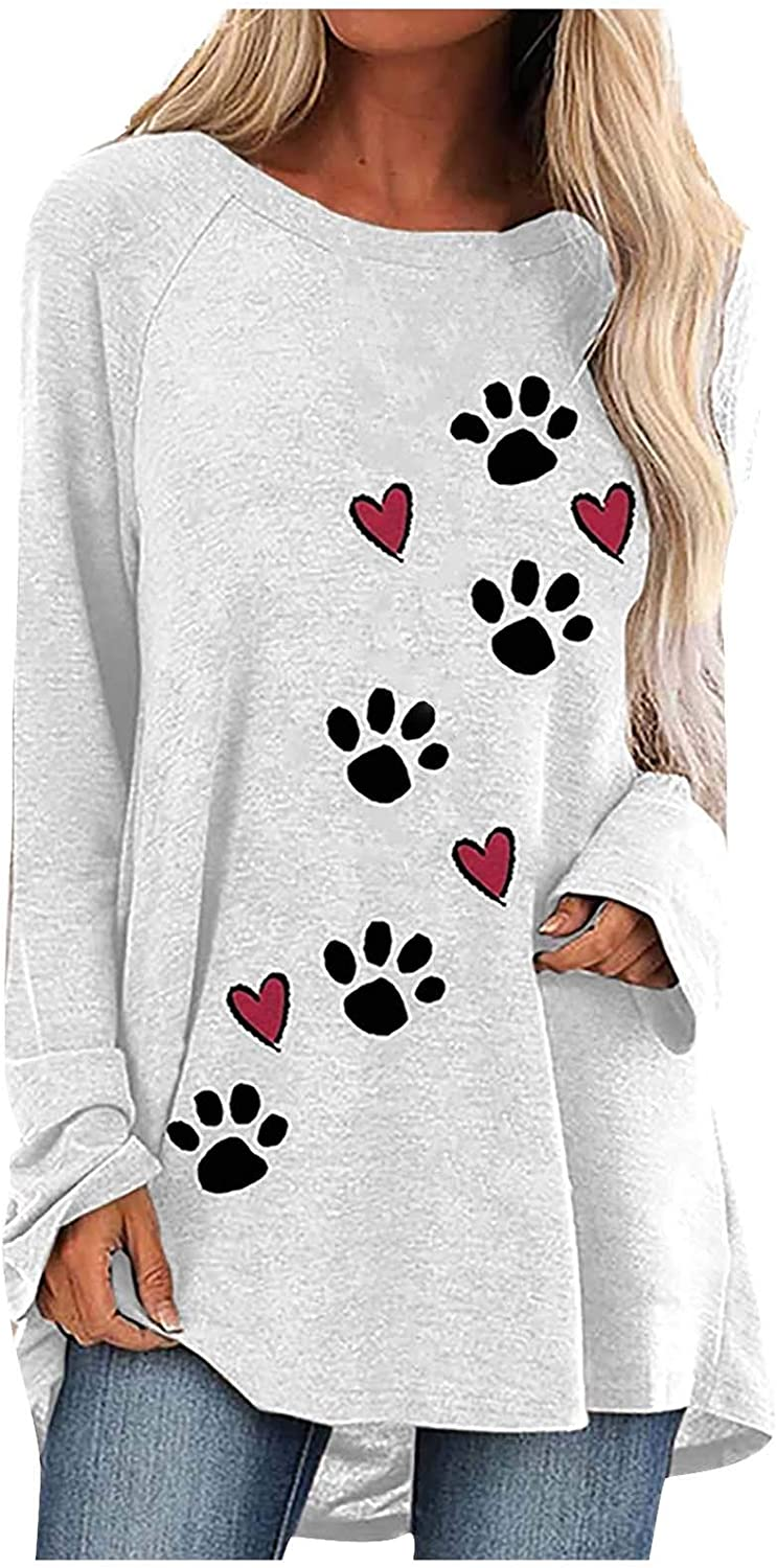 Dog Paw Overseas parallel import regular item Special Campaign Shirts for Women Love Footprints Hearts Long Pet Flowy S