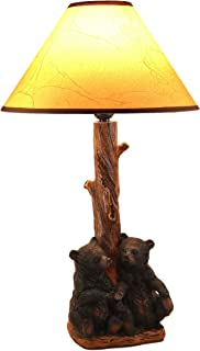 Ebros Wildlife Rustic Cabin Lodge Decor Whimsical 'Hand in Hand' Two Siblings Black Bear Cubs Sitting Together Table Lamp Statue with Shade 22