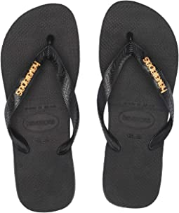 Top Logo Metallic Flip Flops