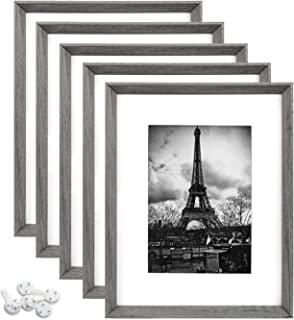 upsimples 8x10 Picture Frame with Real Glass Set of 5,Display Pictures 5x7 with Mat or 8x10 Without Mat,Rustic Photo Frames for Wall or Tabletop Display